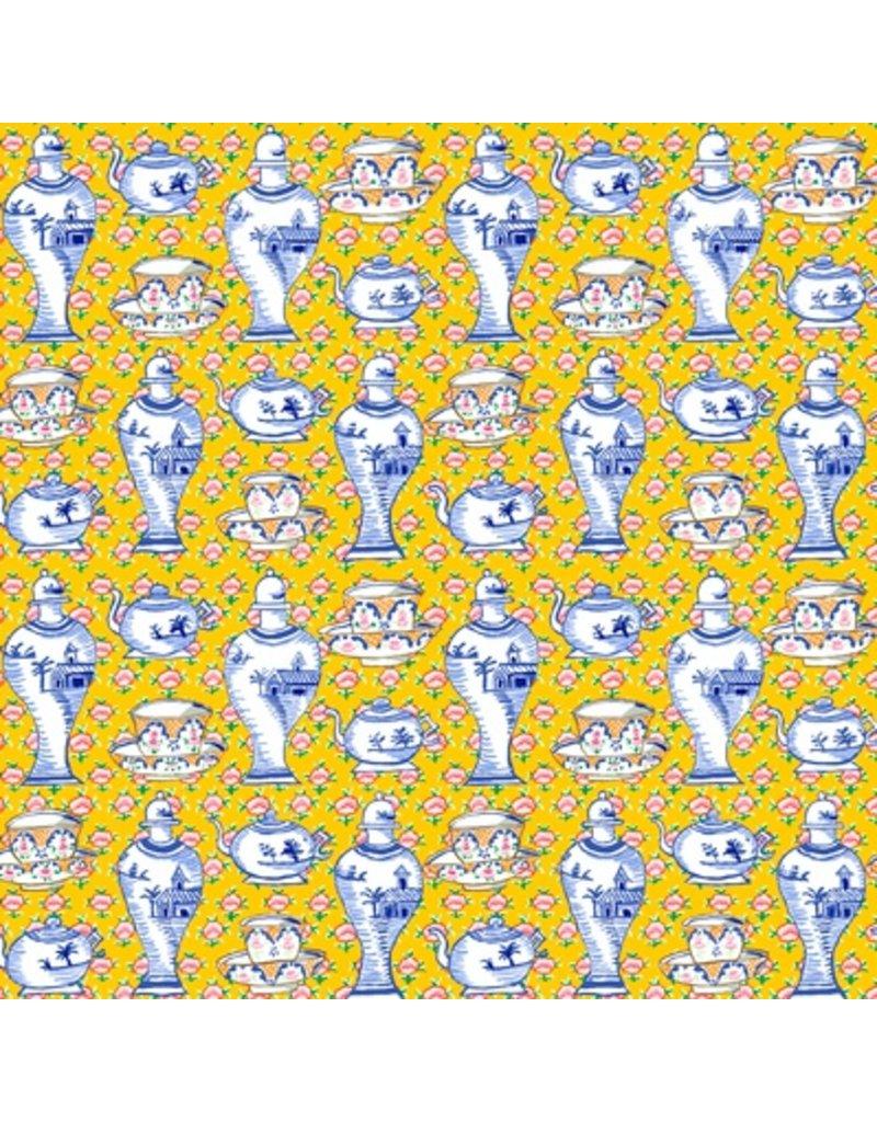 Kaffe Fassett Kaffe Collective Fall 2017, Delft Pots in Yellow, Fabric Half-Yards  PWGP165