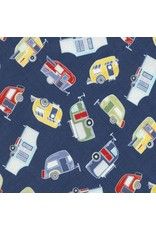 Timeless Treasures Fun, Tossed Campers in Blue, Fabric Half-Yards C5575