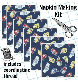 Picking Daisies Dinner Napkin Kit: Tossed Campers in Blue