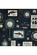 Alexander Henry Fabrics The Ghastlies, A Ghastlie Duel in Potion Blue, Fabric Half-Yards 8592B