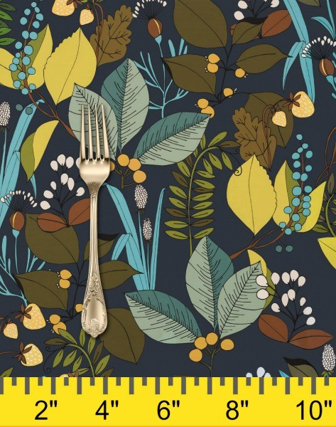 Alexander Henry Fabrics The Ghastlies, A Ghastlie Botanical in Potion Blue, Fabric Half-Yards 8594B