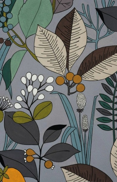 PD's Alexander Henry Collection A Ghastlie Botanical in Sage Gray, Dinner Napkin