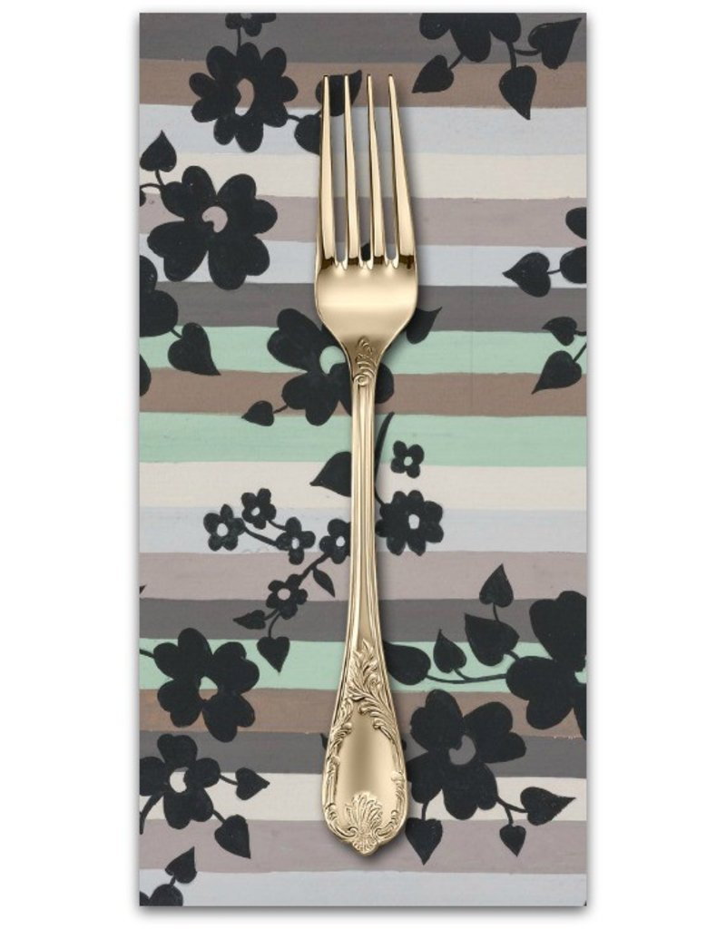 PD's Alexander Henry Collection A Ghastlie Stripe in Sage Gray, Dinner Napkin