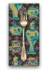 PD's Kaffe Fassett Collection Kaffe Collective, Delft Pots in Brown, Dinner Napkin