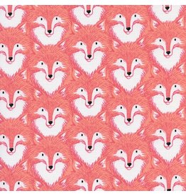 Sarah Watts Magic Forest, Foxes in Coral, Fabric Half-Yards