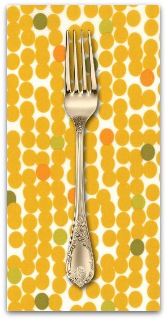 PD's Moda Collection Fragile, Big Dots in Chalk Mustard, Dinner Napkin