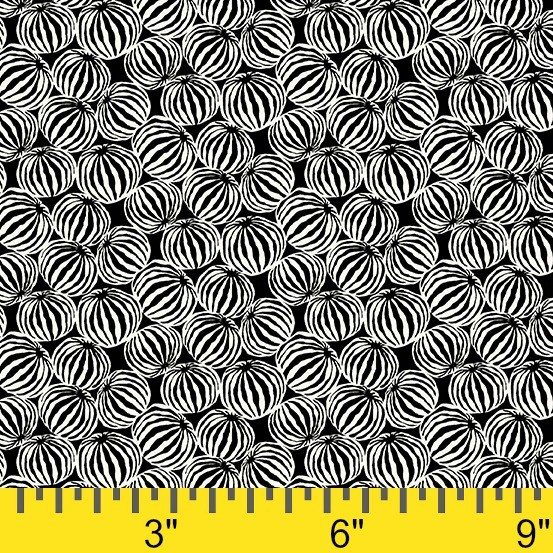 Jane Dixon Composition, Gourd in Black, Fabric Half-Yards A-8602-K