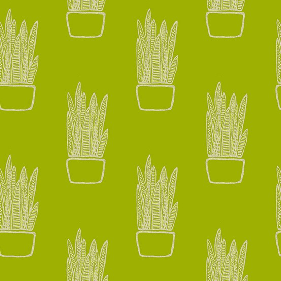 Sarah Golden Linen Tiger Plant, Snake Plant on Tailored Cloth in Chartreuse, Fabric Half-Yards ALN-8647-G