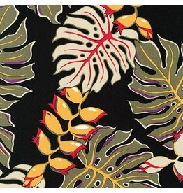 Robert Kaufman Sevenberry, Island Paradise in Black, Fabric Half-Yards SB-4124D1-4