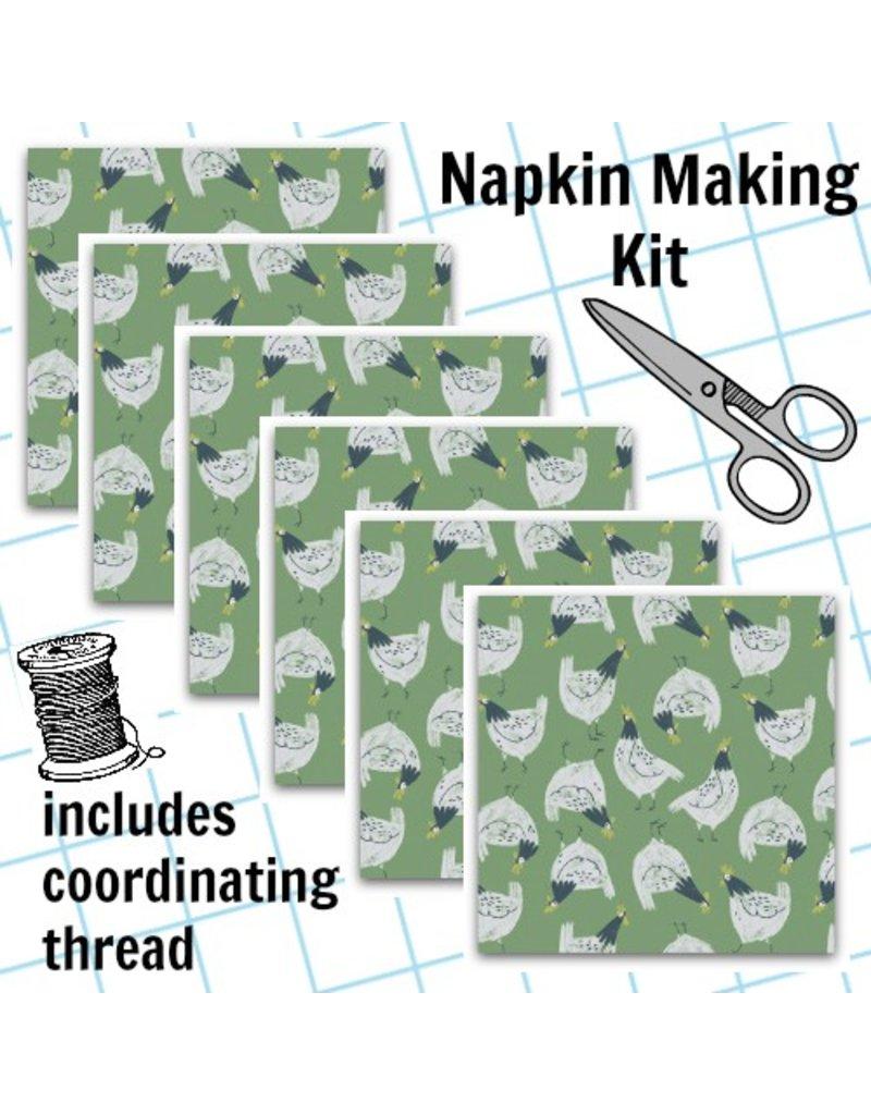 Picking Daisies Dinner Napkin Kit: Garden Sanctuary, Chickens in Shamrock