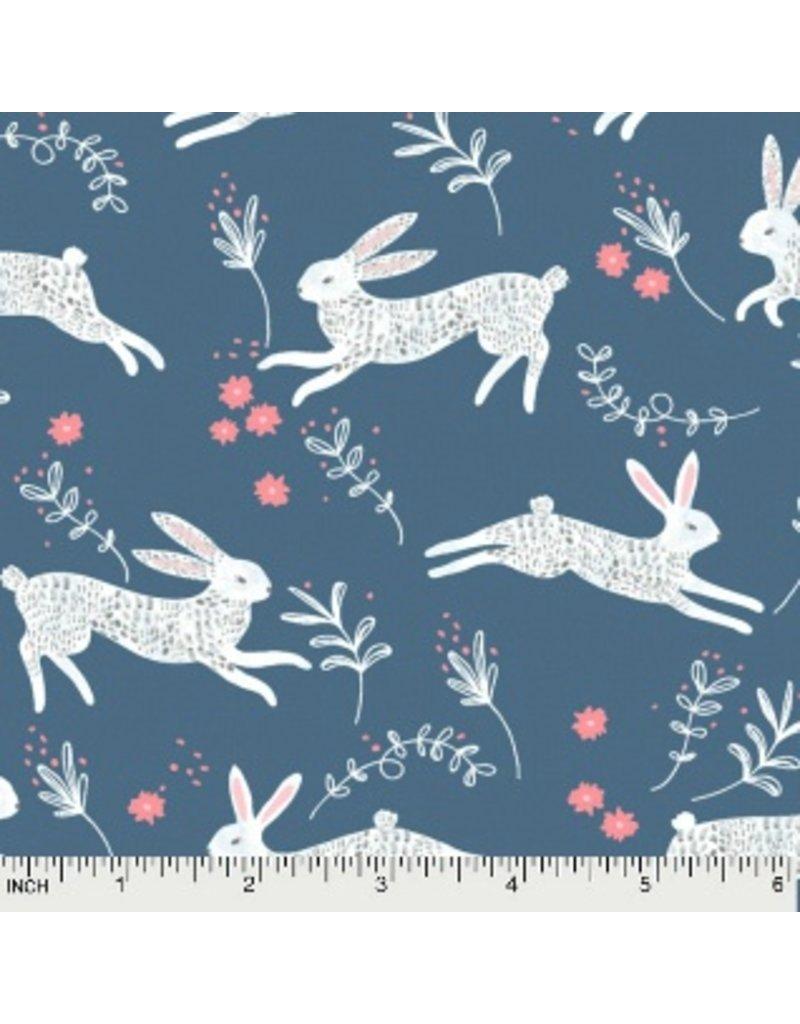 Rae Ritchie Garden Sanctuary, Frolic Bunny Hop in Riviera, Fabric Half-Yards STELLA-885