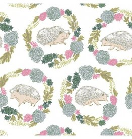 Rae Ritchie Garden Sanctuary, Hedgehogs in White, Fabric Half-Yards STELLA-SRR859