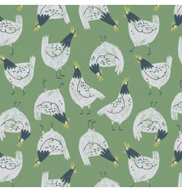 Rae Ritchie Garden Sanctuary, Chickens in Shamrock, Fabric Half-Yards STELLA-SRR861