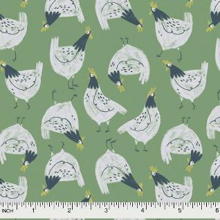 Rae Ritchie Garden Sanctuary, Chickens in Shamrock, Fabric Half-Yards STELLA-SRR861