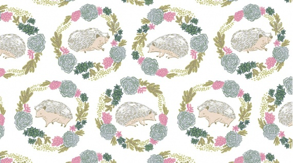 PD's Rae Ritchie Collection Garden Sanctuary, Hedgehogs in White, Dinner Napkin