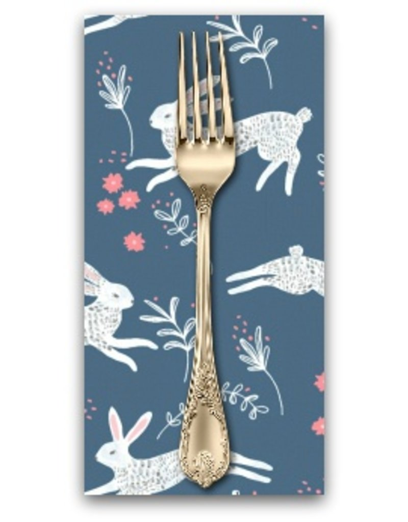 PD's Rae Ritchie Collection Garden Sanctuary, Frolic Bunny Hop in Riviera, Dinner Napkin