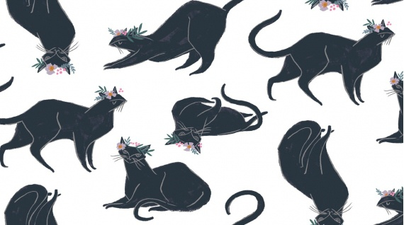 PD's Rae Ritchie Collection Magik, Cat Magik in White, Dinner Napkin