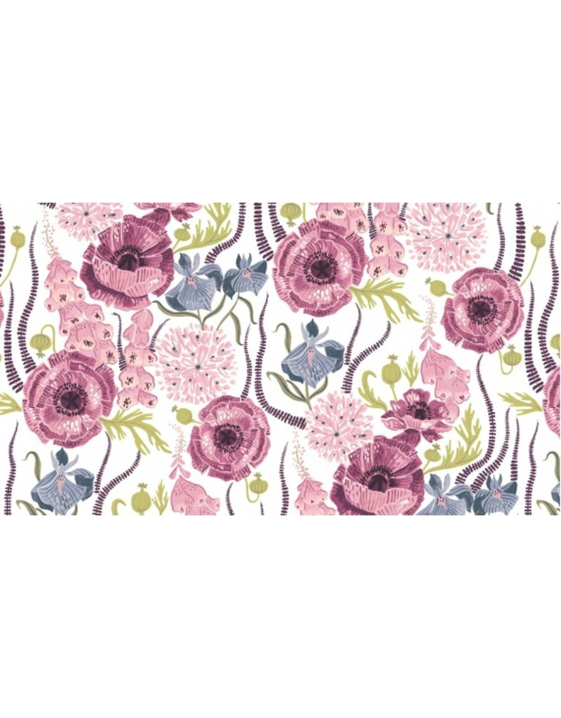 PD's Rae Ritchie Collection Magik Sanctuary, Blooming Garden in White, Dinner Napkin