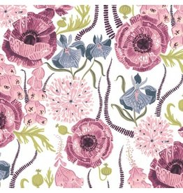 Rae Ritchie Magik Sanctuary, Blooming Garden in White, Fabric Half-Yards STELLA-SRR858