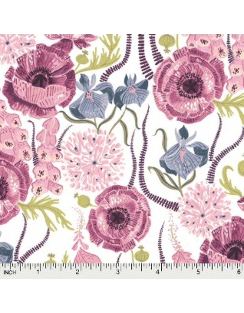 Rae Ritchie Magik Sanctuary, Blooming Garden in White, Fabric Half-Yards STELLA-SRR858