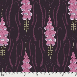 Rae Ritchie Magik Sanctuary, Foxglove in Blackberry, Fabric Half-Yards STELLA-SRR860