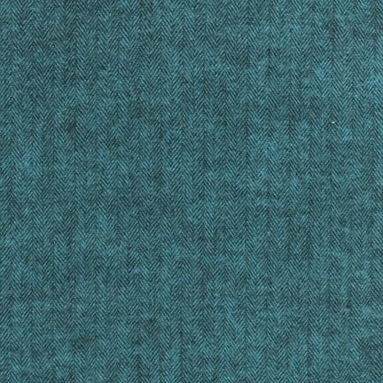Robert Kaufman Yarn Dyed Cotton Flannel, Shetland Flannel in Herringbone Ocean, Fabric Half-Yards SRKF-13936-59