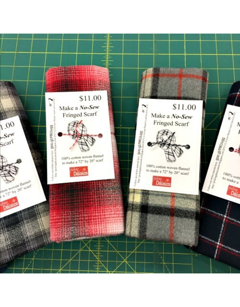 Make a Flannel Scarf, Red Shetland