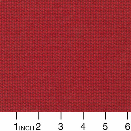 Robert Kaufman Yarn Dyed Cotton Flannel, Shetland Flannel in Houndstooth Red, Fabric Half-Yards SRKF-15617-3