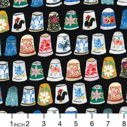 Robert Kaufman Porcelain, Thimbles and Threads in Black, Fabric Half-Yards ALH-17204-2
