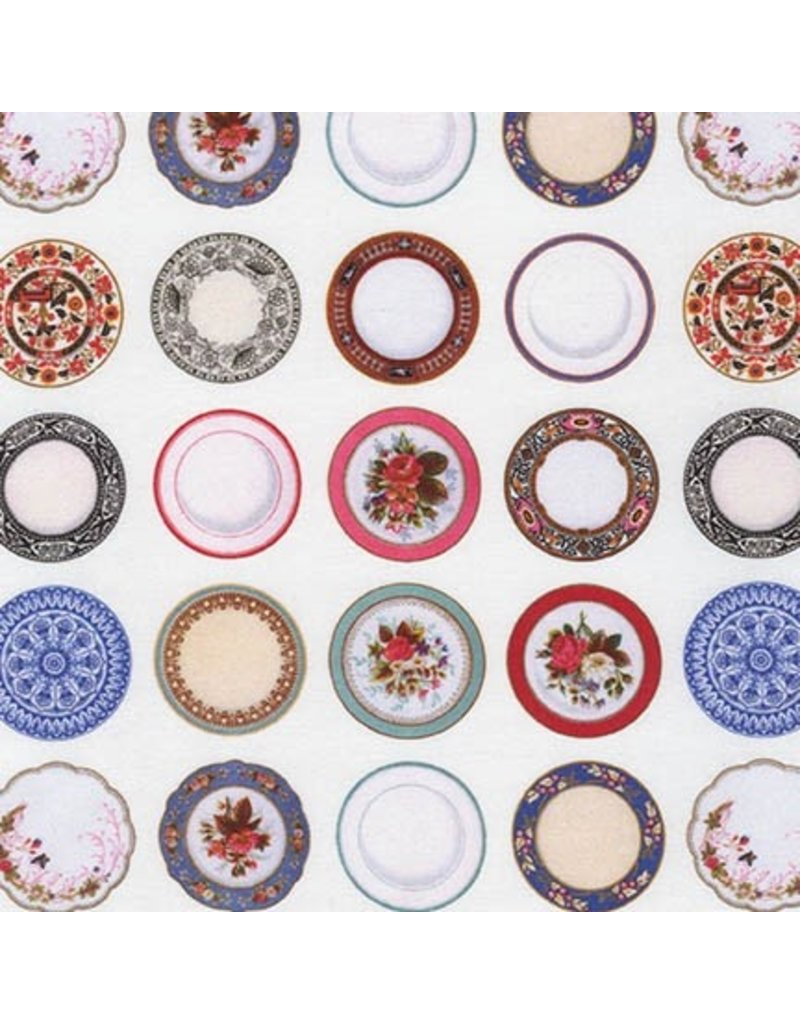 Robert Kaufman Porcelain, Tea Time in White, Fabric Half-Yards AMV-17116-1