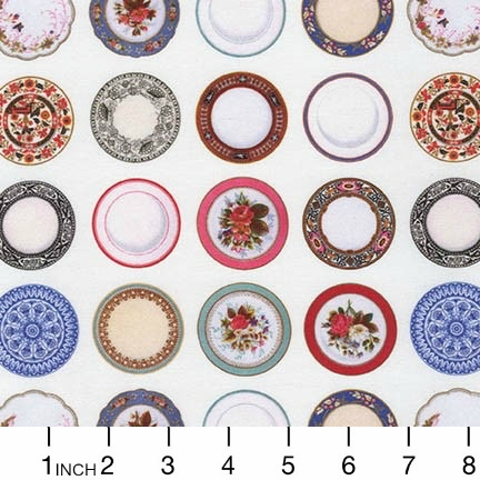 Robert Kaufman Porcelain, Tea Time in White, Fabric Half-Yards AMV-17116-1