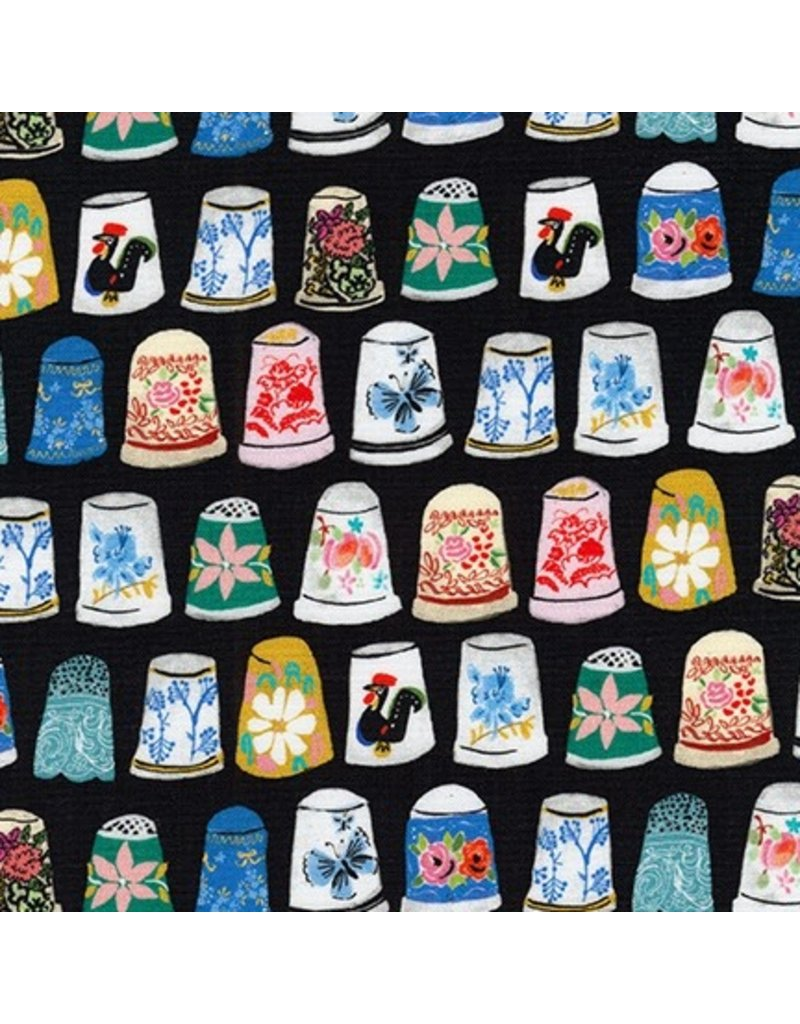 PD's Robert Kaufman Collection Porcelain, Thimbles and Threads in Black, Dinner Napkin