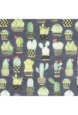 Michael Miller Lovely Llamas, Cactus Hoedown in Gray, Fabric Half-Yards CX7298
