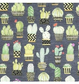 Michael Miller Lovely Llamas, Cactus Hoedown in Gray, Fabric Half-Yards CX7298