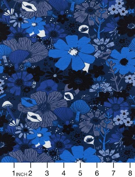 Sarah Watts Dress Shop Cotton Jersey, Bouquet in Moody 5158-17, Fabric Half-Yards