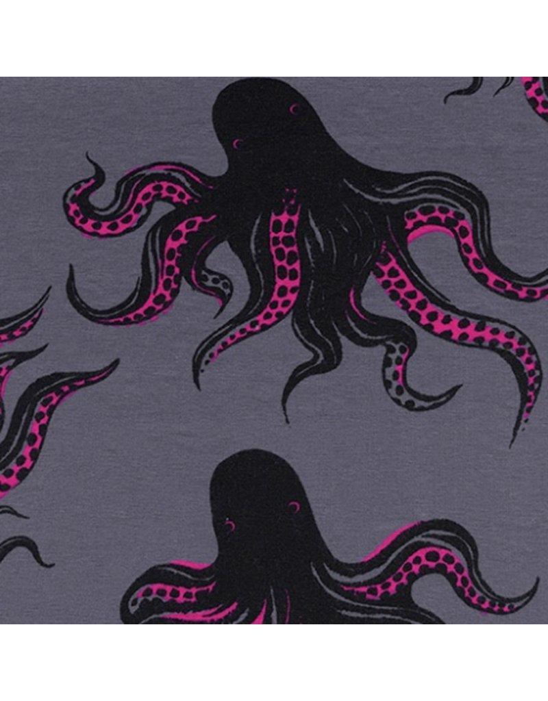 Sarah Watts Dress Shop Cotton Jersey, Mystery Food in Smoke 5159-27, Fabric Half-Yards
