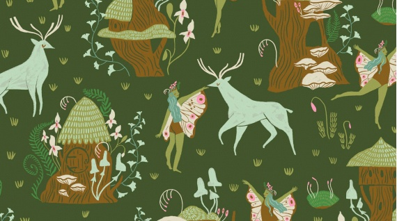 Rae Ritchie Woodland Nymph, Woodland Nymphs in Clover, Fabric Half-Yards STELLA-SRR902