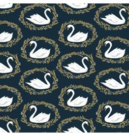 Rae Ritchie Woodland Nymph, Sleeping Beauty Black Swan in Midnight, Fabric Half-Yards STELLA-913