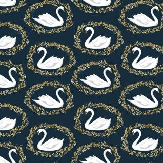Rae Ritchie Woodland Nymph, Sleeping Beauty Black Swan in Midnight, Fabric Half-Yards STELLA-913