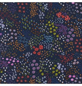Cotton + Steel Cotton Lawn, #Lawnquilt, Wildflower in Navy, Fabric Half-Yards C5162-011
