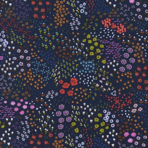 Cotton + Steel Cotton Lawn, #Lawnquilt, Wildflower in Navy, Fabric Half-Yards C5162-011