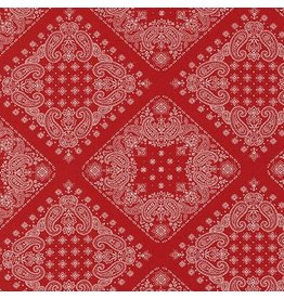 Robert Kaufman Sevenberry, Bandana in Red, Fabric Half-Yards SB-82103D2-2