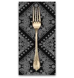 PD's Robert Kaufman Collection Sevenberry, Bandana in Black, Dinner Napkin