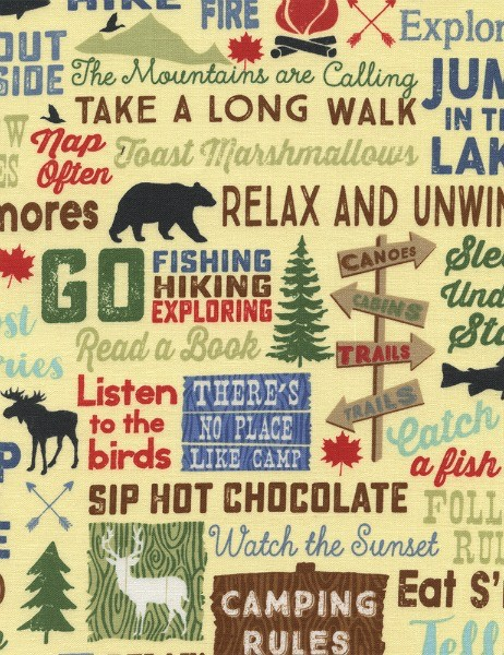 Timeless Treasures Fun, Camping Words in Straw, Fabric Half-Yards C4944