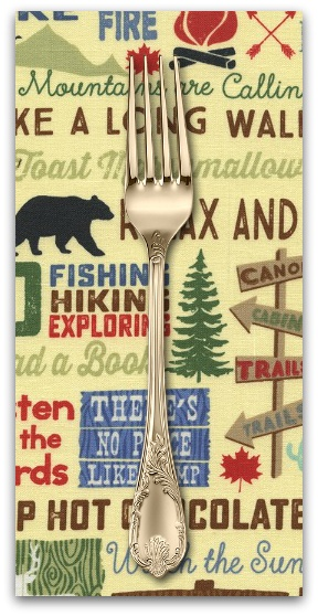PD's Timeless Treasures Collection Fun, Camping Words in Straw, Dinner Napkin