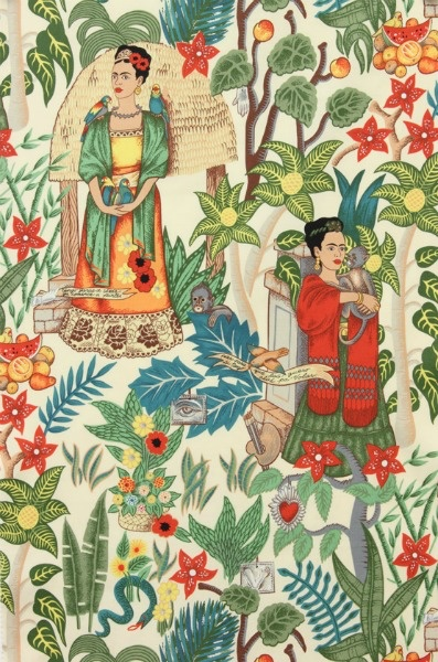 Alexander Henry Fabrics Folklorico, Fridas Garden in Tea, Fabric Half-Yards 6752AR