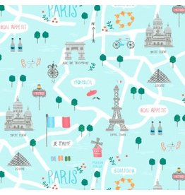 Dear Stella Parisienne, Le Map in Capri, Fabric Half-Yards STELLA-917