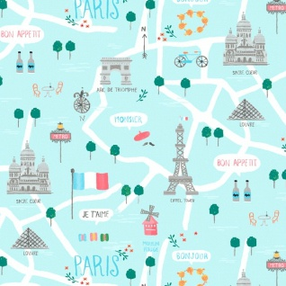 Dear Stella Parisienne, Le Map in Capri, Fabric Half-Yards STELLA-917