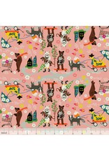 PD's Blend Fabrics Collection Caravan, Car Pool in Pink, Dinner Napkin