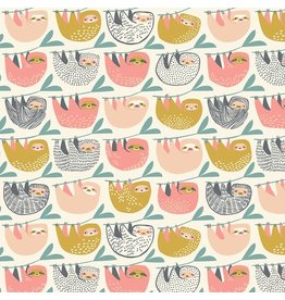 Blend Fabrics Rainforest Slumber, Slumber of Sloths in Pink, Fabric Half-Yards 124.105.03.1